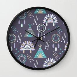 Indian Pattern Purple Wall Clock