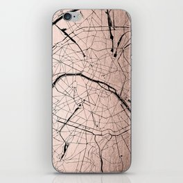 Paris France Minimal Street Map - Rose Gold Glitter on Black iPhone Skin