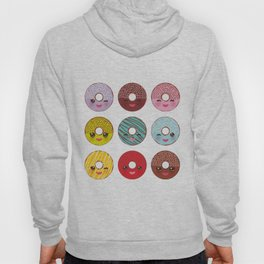 Kawaii colorful donut with pink cheeks and winking eyes, Sweet donuts set with icing and sprinkls Hoody