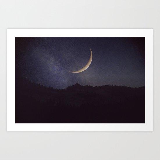 Moon and stars landscape Art Print