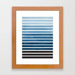 Watercolor Gouache Mid Century Modern Minimalist Colorful Green Blue Stripes Framed Art Print