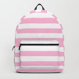 Narrow Horizontal Stripes - White and Cotton Candy Pink Backpack