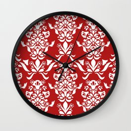 Scroll Floral Christmas Red Wall Clock