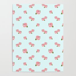 Pink Roses Repeat Pattern on Lt Blue Poster