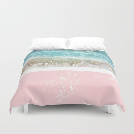 Blue Wave On Pink Duvet Cover