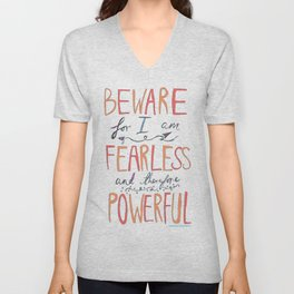 BEWARE, FEARLESS, POWERFUL: FRANKENSTEIN by MARY SHELLEY Unisex V-Neck