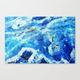 Blue and gold marble texture Canvas Print