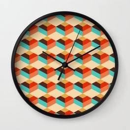 Retro style colorful choco cubes pattern Wall Clock