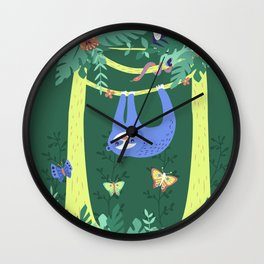 Sloth Hanging Around in the Forest Wall Clock
