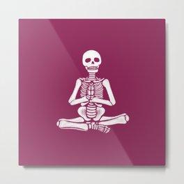 Yoga Skeleton Eggplant Metal Print