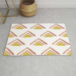 Pink and Yellow Boho Triangles Rug