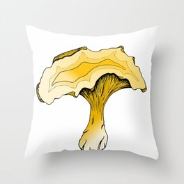 Chanterelle Mushroom, Hand drawn, Pen and Ink, Food, Nature Throw Pillow