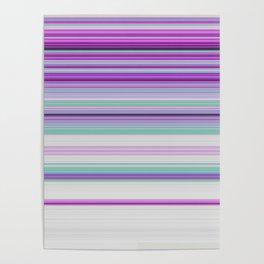 Ultra Violet Aqua Modern Stripes Poster
