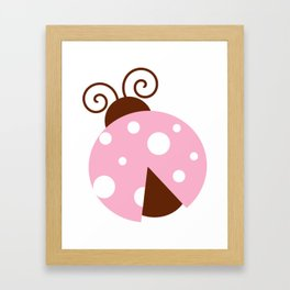 Ladybug, Ladybird, Lady Beetle - Pink Brown White Framed Art Print