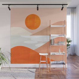 Abstraction_SUNSET_LAKE_Mountains_Minimalism_001 Wall Mural