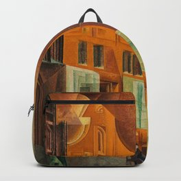The City, Gables I, cityscape street scene painting by Lyonel Feininger Backpack