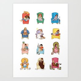 Reading fictional characters Art Print