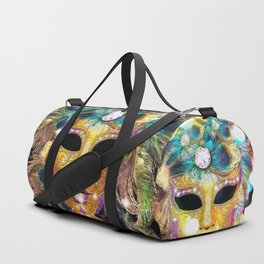 Golden Carnival Mask Duffle Bag