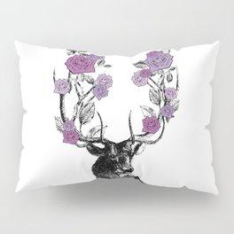 The Stag and Roses | Deer and Flowers | Purple | Vintage Stag | Vintage Deer | Antlers | Woodland | Pillow Sham