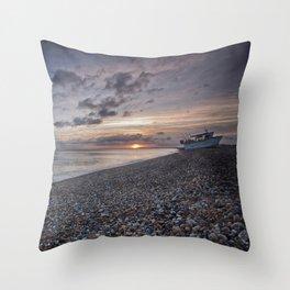 Hythe Beach at Sunset Throw Pillow