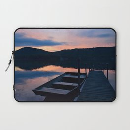 Pretty Adirondack Dawn: Jon Boat and Old Dock Laptop Sleeve