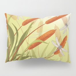 the reeds and dragonflies on the rising sun background Pillow Sham