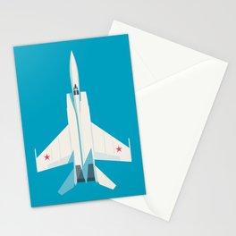 MiG-25 Foxbat Interceptor Jet Aircraft - Cyan Stationery Cards