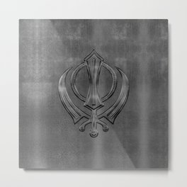 Metallic Embossed Khanda symbol Metal Print