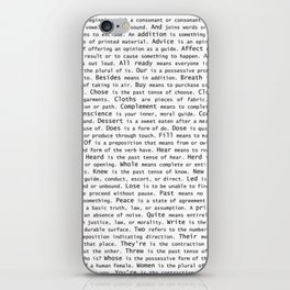 Top Grammar Mistakes From Homonyms: A Unique Gift for Writers and Editors (Black Text on White) iPhone Skin