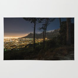 Cape Town city and Table Mountain at night Rug