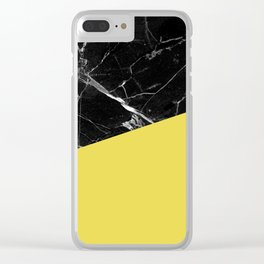 Black Marble and Meadowlark Yellow Color Clear iPhone Case