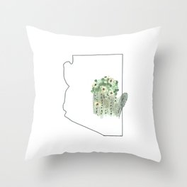 arizona // watercolor saguaro flower state flower map Throw Pillow