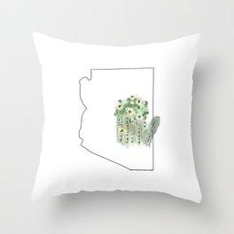 arizona // watercolor saguaro flower state flower map Throw Pillow