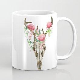 Bohemian deer skull and antlers with flowers Coffee Mug
