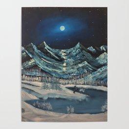 Moonlit Mountains Poster