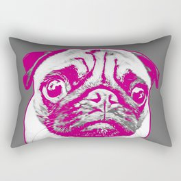 Sweet pug in pink and gray. Pop art style portrait. Rectangular Pillow