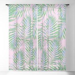 Fern Leaves Pink Sheer Curtain