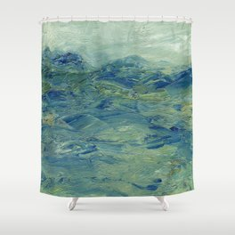 Abstract Blue Green Waves of Aqua Ocean Blue Mountains Shower Curtain