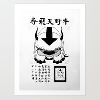 appa Art Prints featuring Appa Wanted Poster by Korrina Carmona
