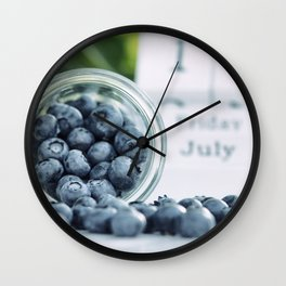 Wild Bluebeeries in Glass for kitchen Wall Clock