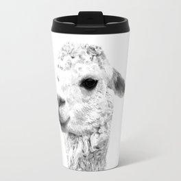 Black and white alpaca animal portrait Travel Mug