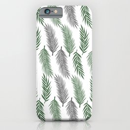 Simple jungle leaves nature pattern in shades of green and grey with white background iPhone Case