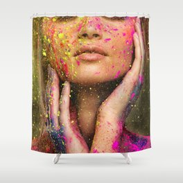 Young woman muse with creative body art and hairdo (10) Shower Curtain