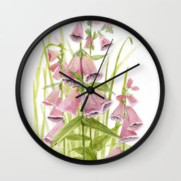 Pink Foxglove Botanical Garden Flower Wall Clock