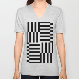 Geometrical abstract black white stripes pattern Unisex V-Neck