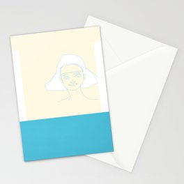 lady with a hat Stationery Cards