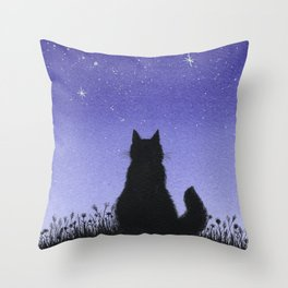 Cat and Stars Blue Throw Pillow