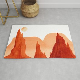 Monochrome Mountains with  Moon #1 Rug