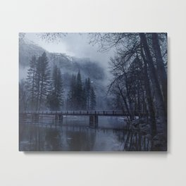 Swinging Bridge over Merced River in Yosemite National Park in the blue of the Early morning Metal Print