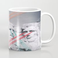 rushmore Mugs featuring Embroidered Mt. Rushmore by Mana Morimoto